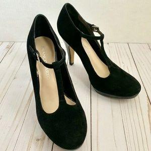 Franco Sarto black suede t strap 3 inch heels